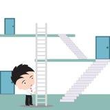 De zakenman gebruikt trap aan kortere weg voor het stijgen naar de hoogste, vectorillustratie in vlak ontwerp Stock Afbeelding