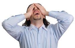 De zakenman geeft aan zijn geïsoleerdet wanhoop uiting Stock Foto's