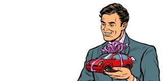 De zakenman geeft een gift, die auto's verkopen Isoleer op witte achtergrond vector illustratie