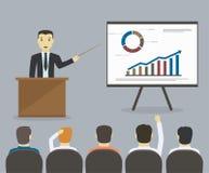 De zakenman geeft een presentatie of een seminarie Commerciële vergadering, t stock illustratie