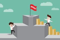 De zakenman geeft geld tot succes wordt geleid dat Stock Afbeelding