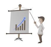 De zakenman geeft presentatie op witte achtergrond Stock Afbeeldingen