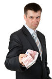 De zakenman geeft terloops de euro Stock Foto's