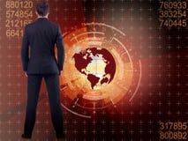 De zakenman in globaal bedrijfsconcept Royalty-vrije Stock Afbeeldingen