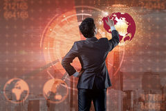 De zakenman in globaal bedrijfsconcept Royalty-vrije Stock Fotografie
