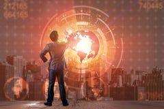 De zakenman in globaal bedrijfsconcept Stock Afbeelding