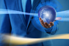 De zakenman in globaliserings globaal bedrijfsconcept Royalty-vrije Stock Foto