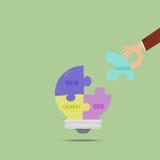 De zakenman heeft conceptuele puzzelsideeën royalty-vrije illustratie