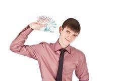 De zakenman houdt het geld backout isoleert Royalty-vrije Stock Afbeelding