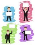 De zakenman houdt witte raad, uithangbord stock illustratie
