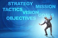 De zakenman kan geen collectieve strategie begrijpen royalty-vrije illustratie