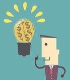 De zakenman kan goed idee krijgen om iets te doen succes en thinki Royalty-vrije Stock Afbeeldingen