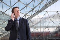 De zakenman kijkt aan de toekomst stock afbeelding