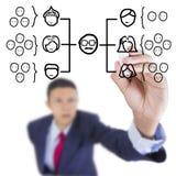 De zakenman kijkt de organisatieranki van de omhooggaand en het schrijven diagramgrafiek Stock Foto's