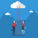 De zakenman kijkt omhoog een ladder om te betrekken Stock Foto's