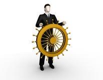 De zakenman komt voor een schipstuurwiel op royalty-vrije illustratie