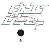 De zakenman kreeg probleem met het verwarren en status voor labyrint en komt oplossing te weten, op witte achtergrond wordt geïso Royalty-vrije Stock Afbeeldingen