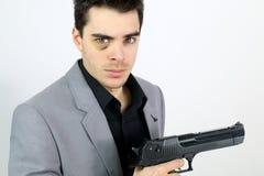 De zakenman kwam rekeningen met zijn werkgever regelen Stock Foto's