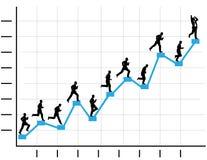 De zakenman lanceert de Grafiek Grafiek van de Bedrijfs van de Winst royalty-vrije illustratie