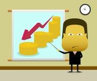 De zakenman legt financiële grafieken voor die neer zijn Stock Foto