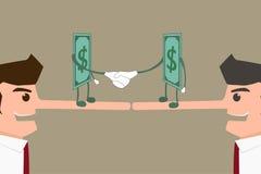 De zakenman ligt voor geld Stock Afbeelding