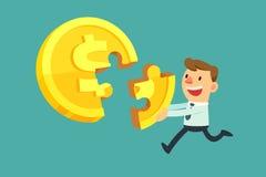 De zakenman lost gouden muntstukraadsel op Stock Afbeelding