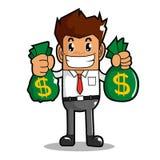 De zakenman maakt geld Stock Foto's