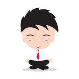 De zakenman mediteert en ontspannend in lotusbloem stel Bedrijfsyoga, op witte achtergrond Stock Afbeeldingen