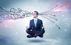 De zakenman mediteert met het zuiveren van krabbelconcept stock afbeelding