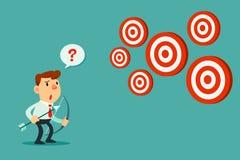 De zakenman met boog en de pijl bekijken veelvoudige doelstellingen Stock Afbeelding