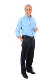De zakenman met dient zak en Glazen in Stock Foto