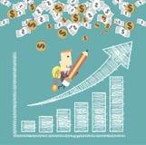 De zakenman met een raket gaat naar succes die een positieve tendens in kaart brengen vector illustratie