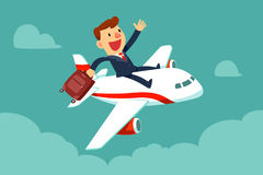 De zakenman met koffer zit bovenop vliegtuig Stock Foto's