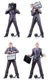 De zakenman met sluitingen op wit Royalty-vrije Stock Foto's