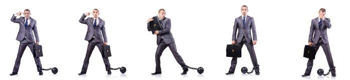 De zakenman met sluitingen op wit Stock Foto's