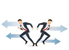 De zakenman moet besluit nemen dat manier om voor zijn succes vectorillustratie te gaan Stock Foto's
