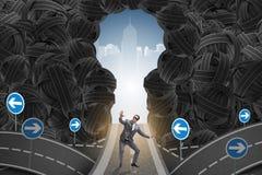 De zakenman in onzekerheids bedrijfsconcept vector illustratie
