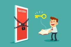 De zakenman opent een boek om deur aan succes te openen Stock Foto