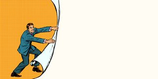 De zakenman opent een gordijnachtergrond royalty-vrije illustratie