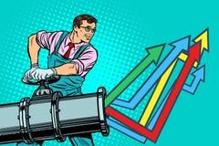 De zakenman opent pijp, de groeigrafiek stock illustratie