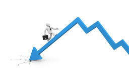 De zakenman overwint financiële crisis Royalty-vrije Stock Afbeelding