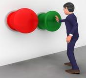 De zakenman Pushes Button Shows krijgt het Gaan en activeert Stock Foto