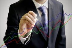De zakenman schrijft de grafiek royalty-vrije stock afbeelding