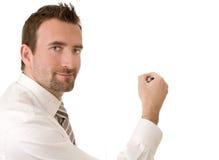 De zakenman schrijft op een virtuele whiteboard Royalty-vrije Stock Foto's