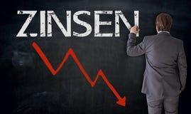 De zakenman schrijft Zinsen in Duitse rente op bord bedriegt Royalty-vrije Stock Foto's