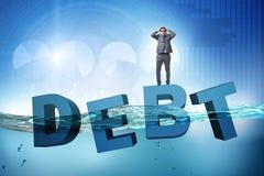 De zakenman in schuld bedrijfsconcept vector illustratie