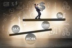 De zakenman in schuld en belastings bedrijfsconcept stock fotografie