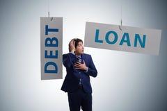 De zakenman in schuld en leningsconcept royalty-vrije illustratie