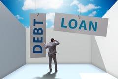 De zakenman in schuld en leningsconcept royalty-vrije stock foto's