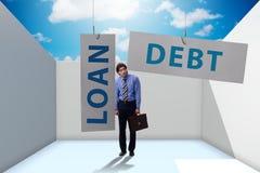 De zakenman in schuld en leningsconcept royalty-vrije stock afbeeldingen